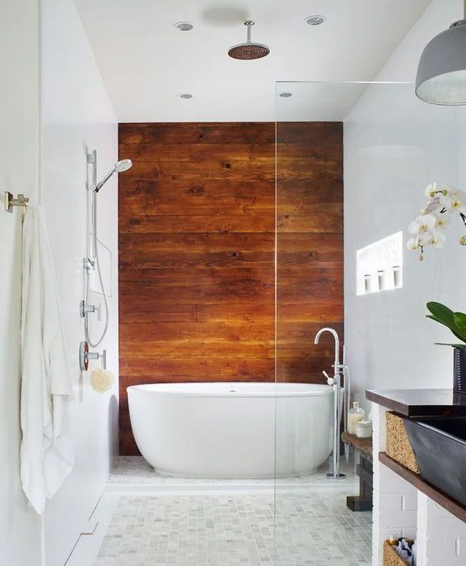 The wood behind the master bathtub and