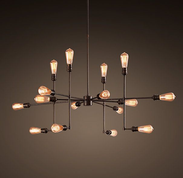 """RH's Varick Chandelier 43"""":Our eclectic fixture has a kinetic form that unites utilitarian materials with a contemporary sensibility. It's been reproduced using a carefully balanced juxtaposition of tubing, fittings and sockets that distinguished the original."""