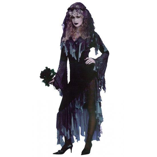 Zombie bruid kostuum voor dames in de kleur zwart met grijs. Dit zombie bruid kostuum bestaat uit een lange jurk met wijde mouwen en een hoge split aan de linkerkant.
