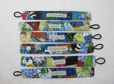 Scrappy Fabric Bracelet Tutorial could do iron on transfer paper for the words in the middle