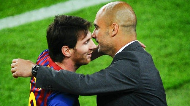 Josep Pep Guardiola : Guardiola supports Messi in the stands in front of...