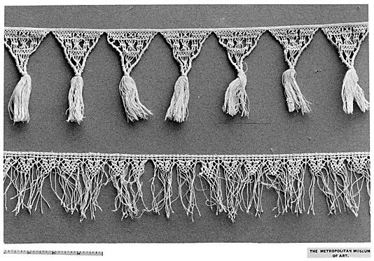 16th century Italian macrame edging with tassels and fringing! (not sure if it's only one of them, or both that are 16th c.) Met Museum, accession no. 08.48.111