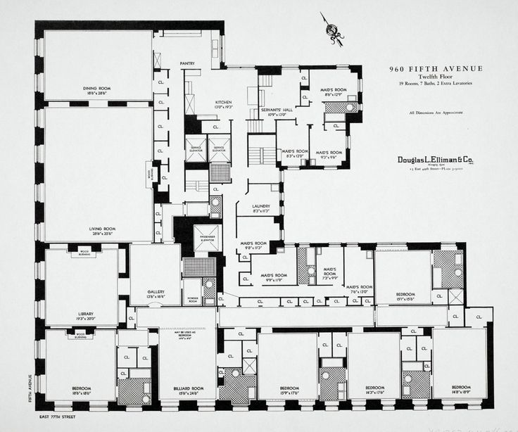Floorplan of a typical appartment, 960 Fifth Avenue, New York