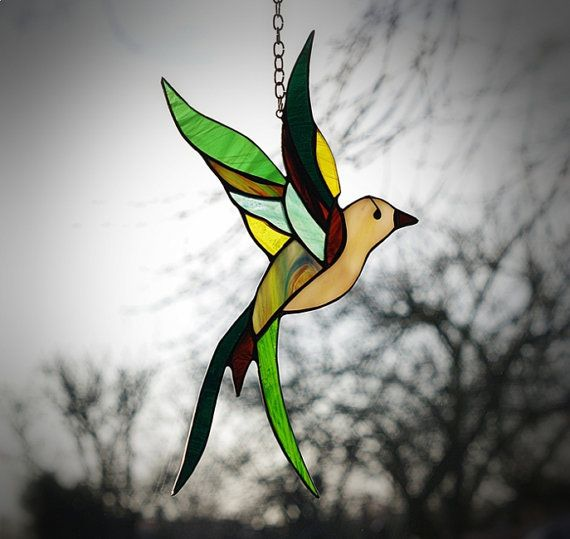 Stained glass bird tiffany glass bird. A stained by AmberGlassArt
