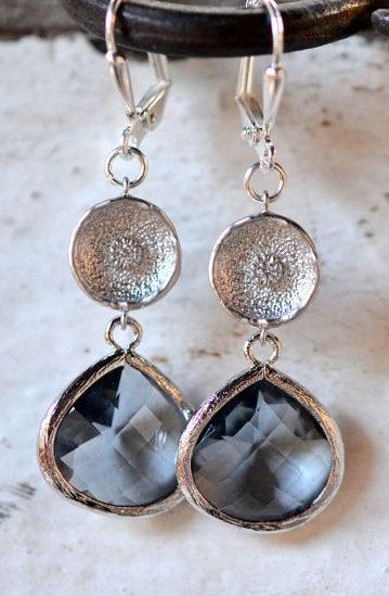 Charocal Teardrop and Silver Disc Drop Earrings