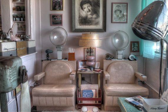 Vintage beauty parlor hair salon hair dryer midcentury modern beautician hair