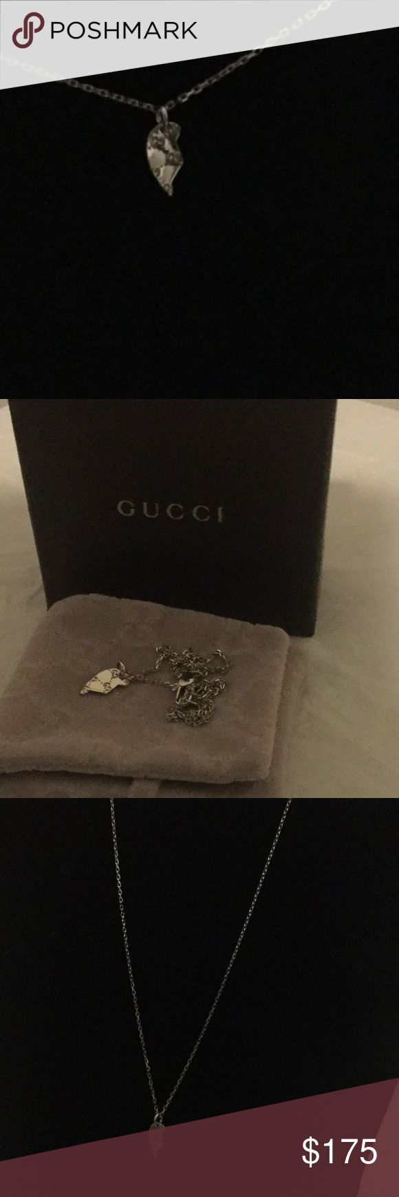 """Gucci 18kt White Gold Split Heart Necklace Chain lengths adjust from 15"""" to 16"""" with lobster clasp. Gucci Jewelry Necklaces"""