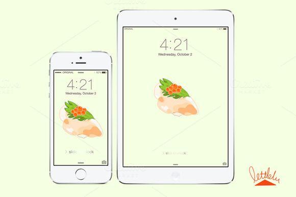 Check out Original Sushi Wallpaper by Littlelu Original on Creative Market