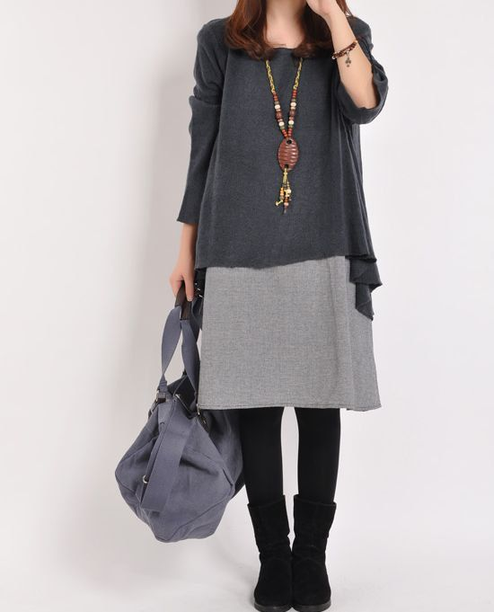 Dark gray sweater dress cotton dress Knitwear large knitted sweater casual loose sweater long sweater coat plus size sweater cotton blouse on Etsy, $61.00