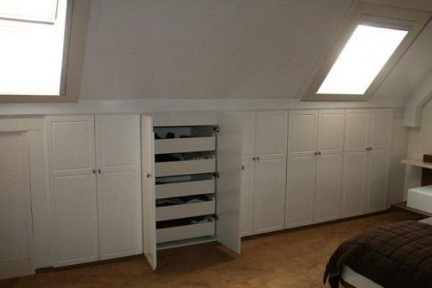 Interieuridee u00ebn   inbouwkast schuin dak met ladeblok (decosier)   For the home   Attic