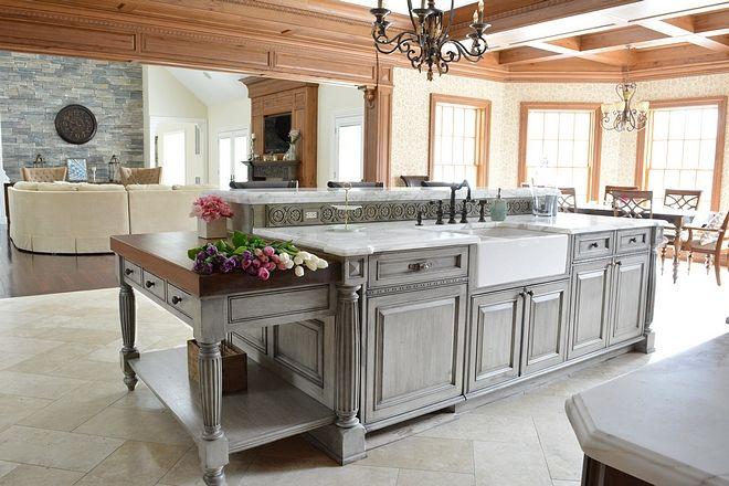 Distressed weathered grey kitchen island Distressed ...