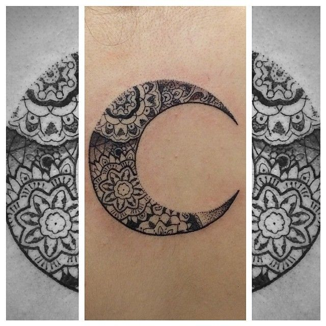 ornamental moon for chloe the other day cosmictattoo pattern pointillism pinkydarling. Black Bedroom Furniture Sets. Home Design Ideas