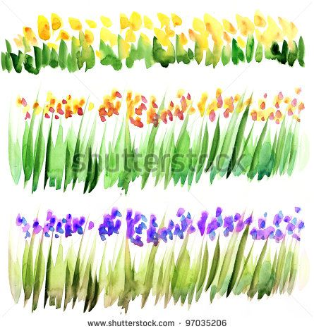 how to paint watercolor flowers and grass - Google Search