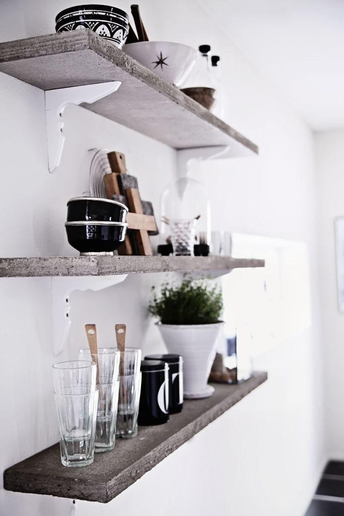 concrete shelves