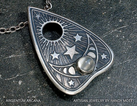 Silver Planchette Pendant, Planchette Necklace with Moon Phases and Moonstone, Ouija Planchette Necklace, Sterling Silver, Oracle Pendant