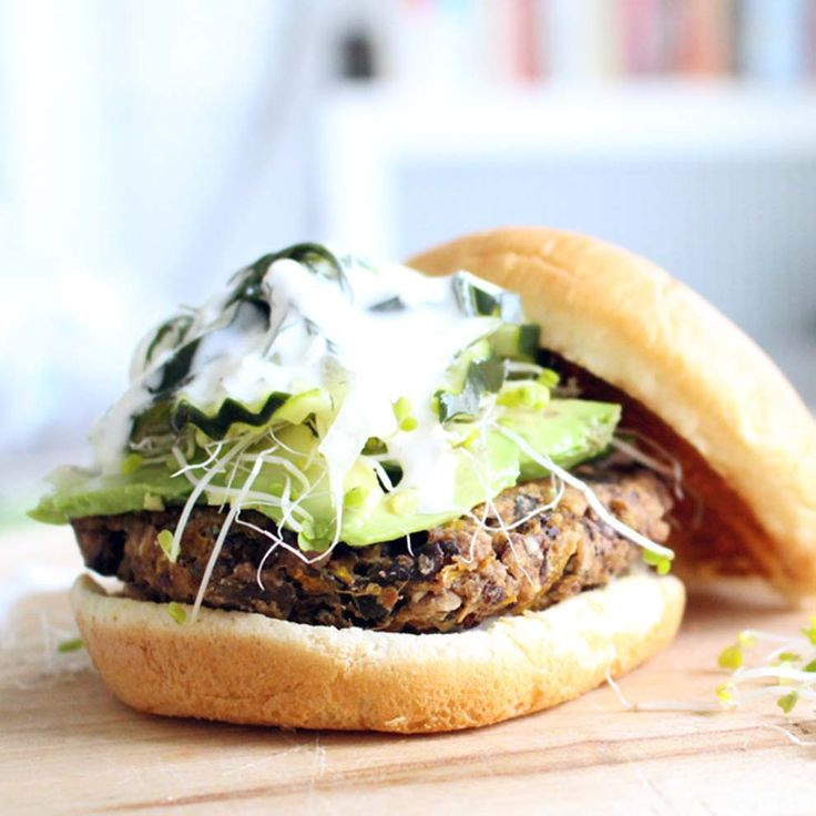 Wild Rice and Black Bean Veggie Burgers   Black beans are mixed with wild rice, eggs, bread crumbs, and spices to create a super flavorful, hearty burger. Freezable and DELICIOUS.