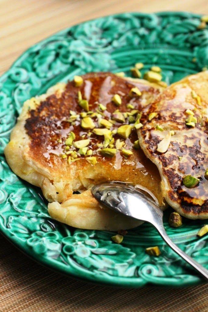Pancakes aux coings au levain (sans lait, ni oeuf)