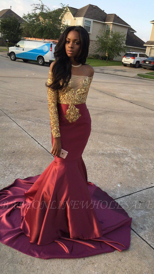 0f91f184d92bb Gorgeous Long Sleeve Burgundy Prom Dress With Golden Appliques ...