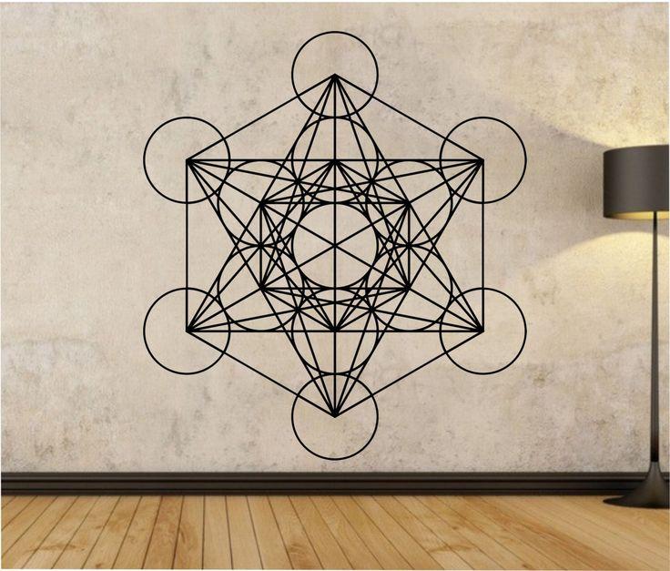 Metatrons cube wall decal sticker art decor bedroom design mural buddha sacred geometry - Cube wall decor ...