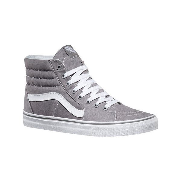 Vans Sk8-Hi Top Sneaker - Frost Gray Canvas Canvas Shoes ($60) ❤ liked on Polyvore featuring shoes, sneakers, grip trainer, vans sneakers, high top skate shoes, gray sneakers and canvas high tops