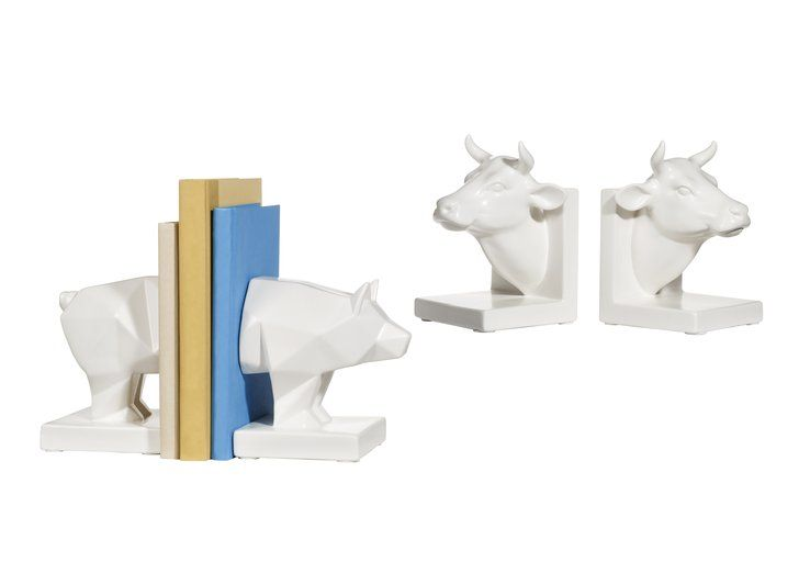 Pin for Later: 21 Affordable Pieces From Target to Make Your Dorm Room Cooler Than the Rest  Room Essentials White Faceted Pig Bookends ($17). Room Essentials White Cow Bookends ($17).