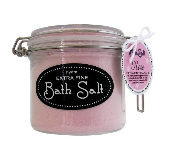 """Hydra Bath Salts - Rose — Giftwerks This amazing salt comes in an """"indestructible"""" recyclable plastic jar. Extra Fine Bath salt dissolves almost instantaneously in hot bath water. The colour will spread through the water like a magic cloud. Just add to scoops to a full bath."""