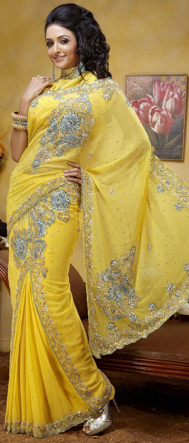 #Yellow Faux #Georgette #Lehenga Style #Saree with Blouse @ $ 241.48