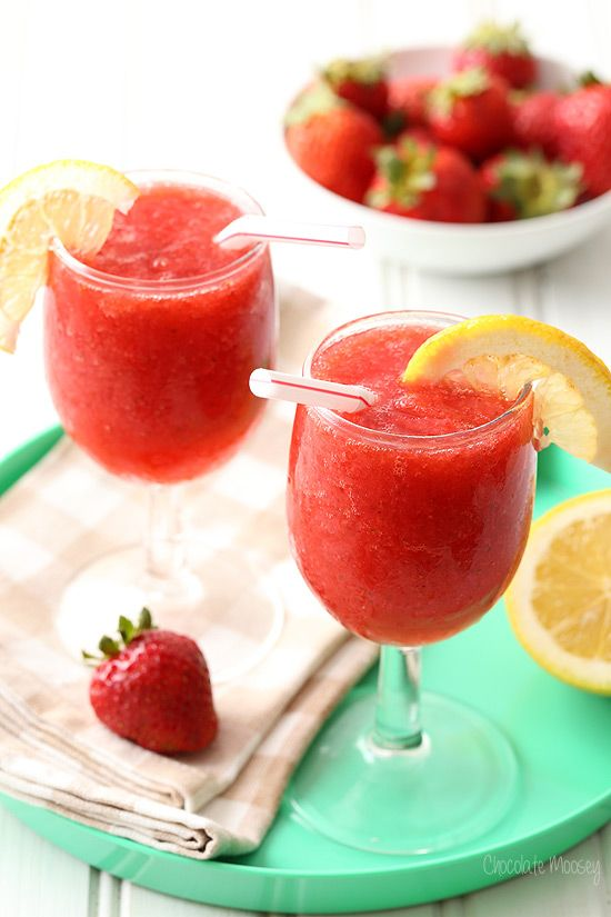 Kick back and chill out with these Strawberry Wine Spritzer Slushies. Just throw 5 ingredients into a blender and serve (21+)