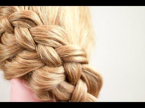 ▶ Плетение косичек. Коса из 4 прядей. How to make 4 strand braid - YouTube