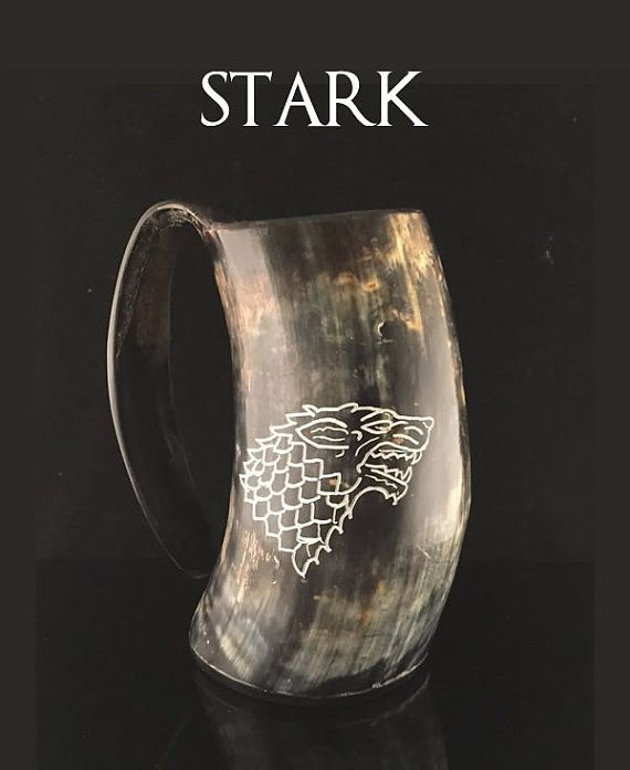 House Stark Sigil Hand Engraved Game of Thrones Drinking Horn