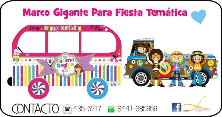 Marco Gigante para fiesta temática, tu pon el tema, asi como esta Van de CandyLand o bien de Peace and Love! by Linda Anguiano
