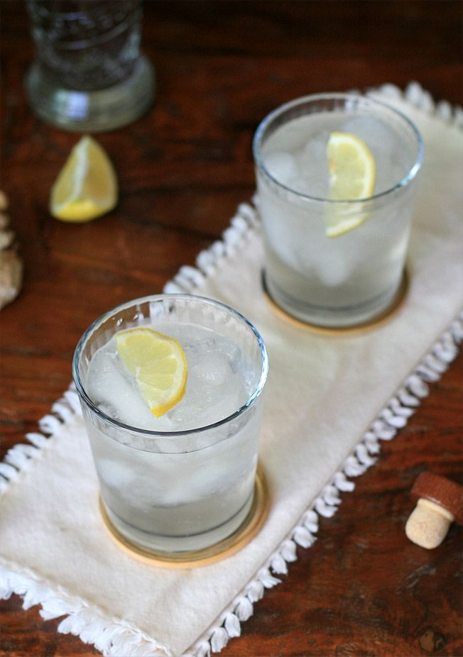 Chilcano de Pisco:  * 2 cups ginger ale  * 1/3 cup pisco  * 1 Tablespoon fresh lemon or lime juice  * 2-3 drops bitters  * crushed ice  * lemon or lime slices for garnish (optional)