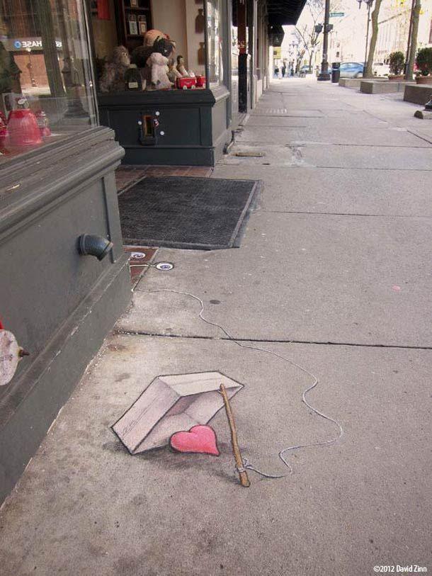 """"""" Coeur à l'abri ?"""" OU """" Coeur à prendre ? """" / Street Art. / Dessin à la craie. / Chalk Design."""