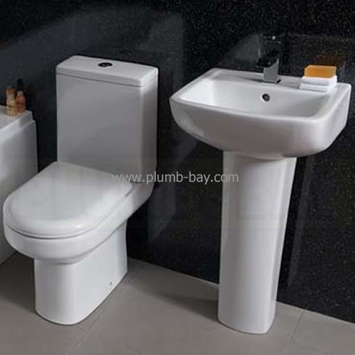 The Elgin 4 Piece Bathroom suite comprises of a very compact, short projection Toilet with space saving in mind, offering a projection of only 610mm along with a compact but good size basin. - http://www.plumb-bay.com/highlife-elgin-bathroom-suite