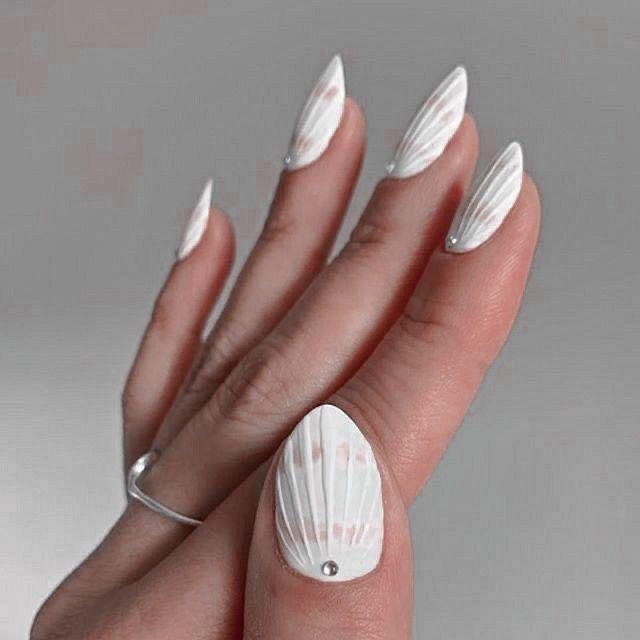 Nails White Nailart Seashells Cute Aesthetic Rings Pearls In 2020 Dream Nails Minimalist Nails Nails
