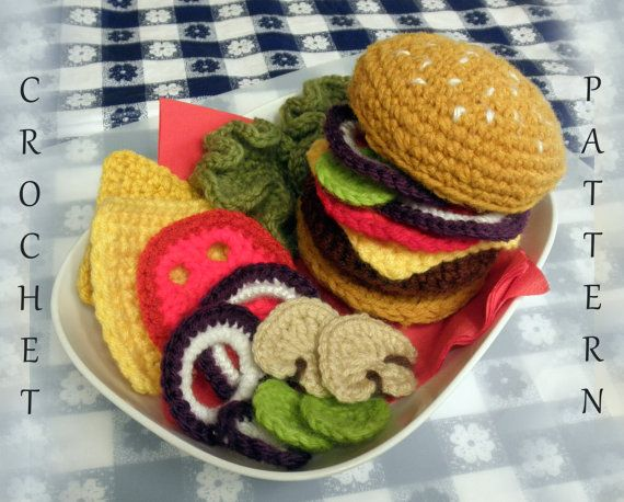 Making for my son! Crocheted hamburger with the fixin's! via luvbug026 on Etsy.