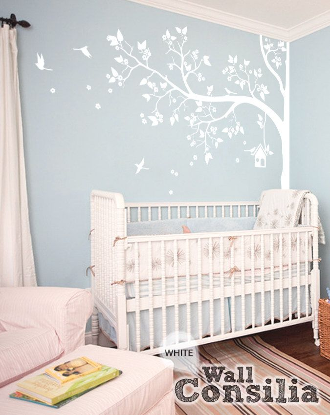 White Tree Wall Decal Nursery Wall Decor White by WallConsilia