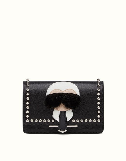 KARLITO WALLET ON CHAIN - in black leather with inlay. Discover the new collections on Fendi official website. Ref: 8M03467MPF0V3X