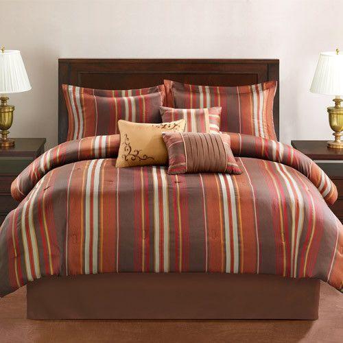 Boys Brown And Orange Bedding: King Brown Orange Red Gold Earthtone Stripe 7pc Comforter