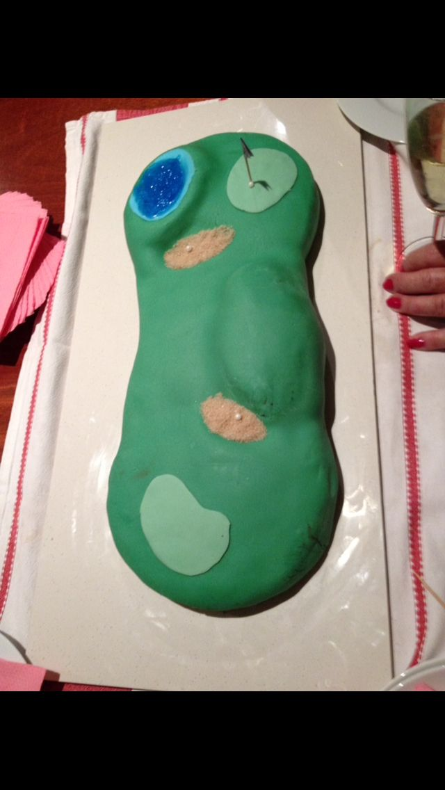 Was just starting out using fondant. Golf course - chocolate cake with chocolate buttercream filling