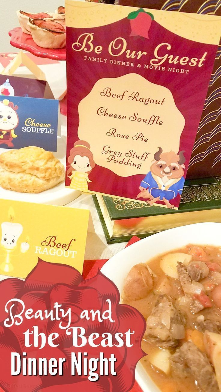 Beauty And The Beast Family Movie Night Dinner Printables Movie Night Dinner Disney Movie Night Food Dinner Themes