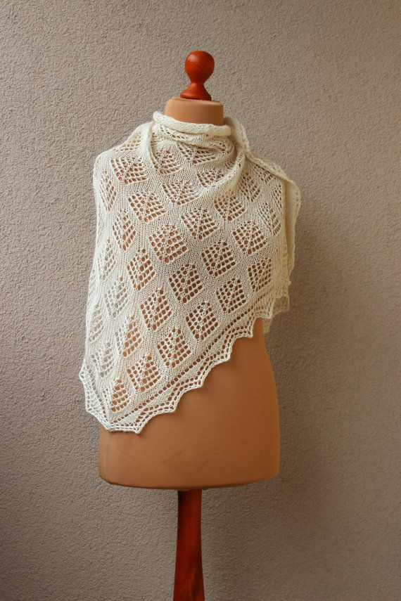 off-white lace triangle shawl wedding shawl alpaca by OlaKnits