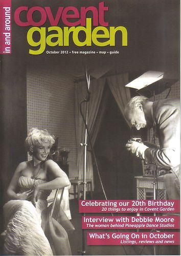 """""""In  Around Covent Garden"""" - UK magazine, October 2012. Cover photo of Marilyn Monroe and Cecil Beaton, by Ed Pfizenmaier, Mr. Beaton's assistant. February 1956"""