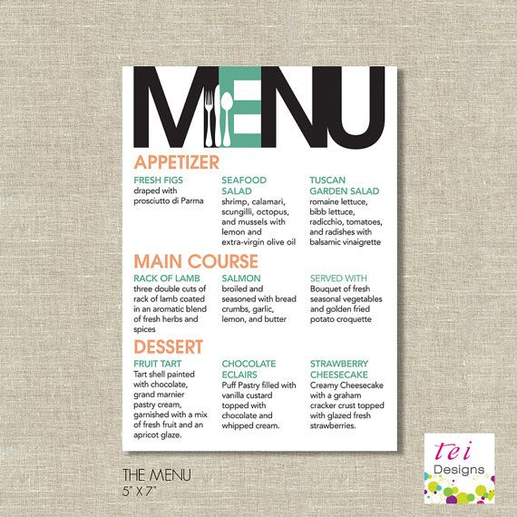 Printable MODERN Menu. --Let Lamcraft laminate these posters for you super cheap! Check out www.lamcraft.com or call 1-800-821-1333 to learn more! We'd love to hear from you :) #LaminateIt
