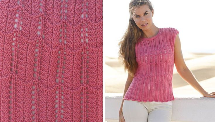 Gebreide top met kantpatroon in Cotton Merino.