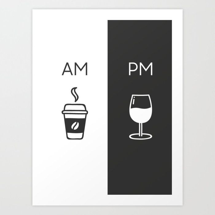 Am Pm Kitchen Poster Coffee Wine Decor Home Decor Wall Art Am Pm Sign Wine Sign Art Print By Fingerartprints Wine Decor Wine Signs Wall Art Decor