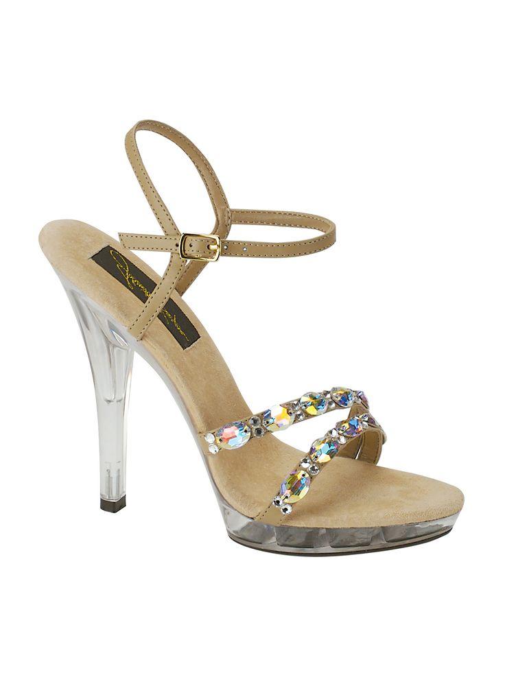 "Jonathan Kayne Swarovski Crystal Pageant Shoes Austria 910.  4"" high heel. Synthetic Taupe color."