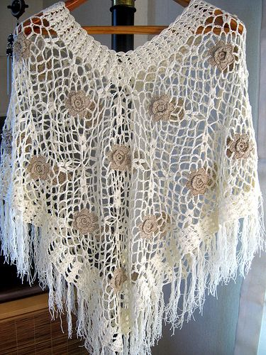 Triangle Shawl Crocheted Poncho | A delightfully soft, light… | Flickr