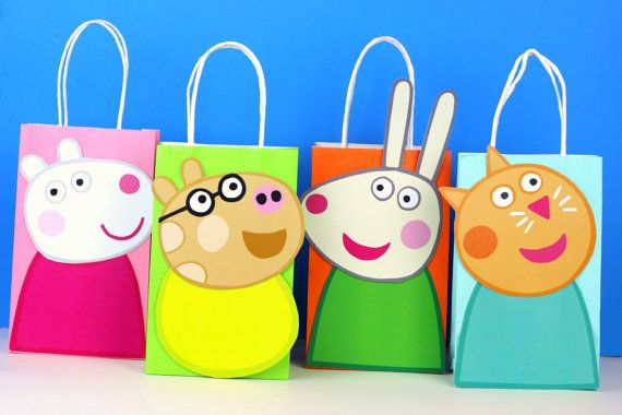 Peppa Pig Friends Favor Bag Instant Download (8 Different Friends)