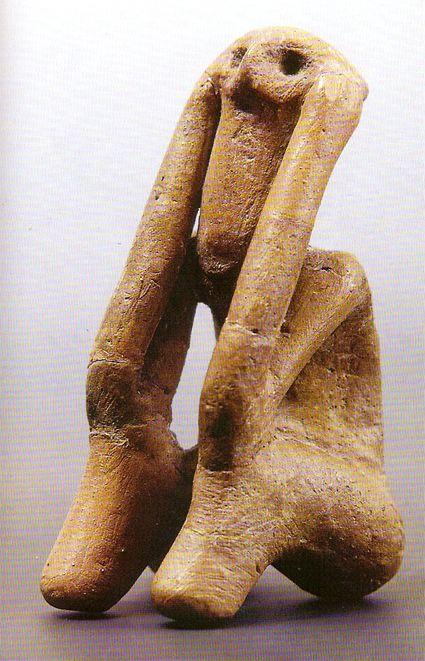 """""""The Thinker of Tarpesti"""" (Ganditorul) Pre-Cucuteni 4750-4500 BC Illustration taken from """"Cucuteni - The Last Great Chalcolithic Civilization of Europe..., Romania"""